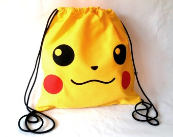 Pikachu backpack Pokemon drawstring backpack Cotton canvas 35x35cm
