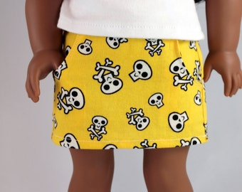 "Yellow Skull Skirt - 18"" doll clothes, mini skirt w/ pockets, modern pirate costume, punk, rock, sweet lolita goth, American made"