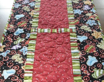 Christmas Whimsical Quilted Table Runner, Quiltsy Handmade, Christmas Decor, Red Green Black Table Runner, Polka Dots and Stripes Quilt
