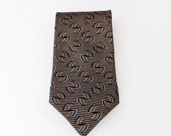 Henry Grethel Black Tan Blue Gold White Geometric Print Silk Necktie Classic Business Wear Great Gift Idea