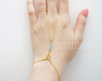 Turquoise Blue Seed Beads, Triple CHEVRON Center piece,  Boho, Simple Chic, Gypsy, Gladiators Hand Bracelet Finger Bracelet Slave Bracelet