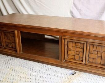 5'x2 Antique Vintage Mid Century Modern Wood Wooden Coffee Table Storage Cabinet