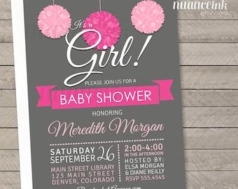 Pink and Gray Pom Pom, baby shower, party invitations, printed or digital copy, 24 hr turnaround