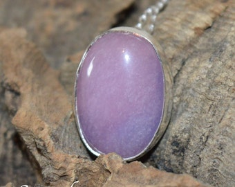 Pale amethyst cabochon in sterling silver necklace pendant