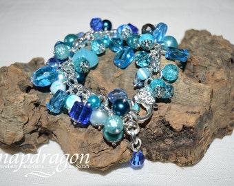 Fully loaded blue glass bead bracelet