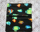 Fabric Checkbook Cover Neon Fish Slim Check Holder