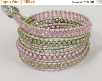 ON SALE Swarovski Pearl and Crystal Pastel Mix Bead Leather Wrap Bracelet