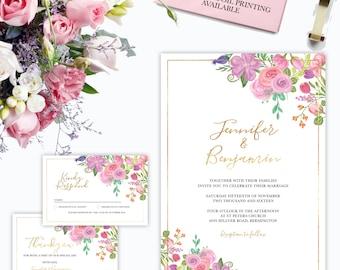 WEDDING INVITATION Floral stationery package DIY Faux Gold Foil design - Vintage Shabby Chic - Printable, Digital