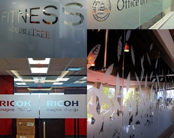 Custom Personalized Etched Vinyl Graphics for Glass / Office Window Frosted Look Sticker / Die Cut Blurry Effect Signs Decal + Decal Gift!