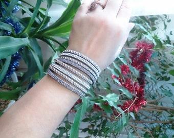 Gray wrap bracelet, layered bracelet, rhinestone bracelet, leather bracelet, dainty bracelet, delicate bracelet, girlfriend gift,