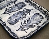 Navy Blue Feather Handmade Ceramic Jewelry Dish - Soap Dish - Sponge Holder