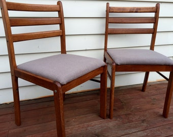 70's Scandinavian style wooden chairs with grey upholstered seats- pick up only