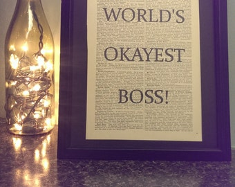 Antique Dictionary Art: World's Okayest Boss Print Boss's Day