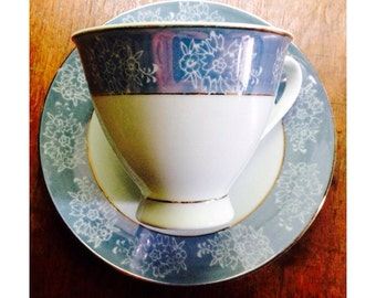 Vintage Tea Cup & Saucer -Swatow China- Blue/White/Gold