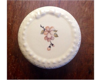 Vintage Ceramic Jewelry Box -Lidded- Round Trinket Dish