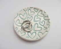 ring dish, wedding ring holder, Pastel Teal hearts, teacher gift, handmade pottery, Gift Boxed, In Stock