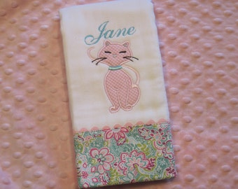 PURR-fectly Adorable Personalized  Burp Cloth