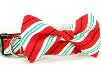 Christmas Dog Collar Candy Cane Striped  with bow tie set  (Mini,X-Small,Small,Medium ,Large or X-Large Size)- Adjustable