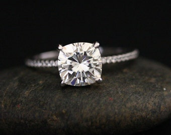 2.00cts Forever Classic Moissanite Cushion 7.5mm and Diamond Half Eternity Engagement Ring in 14k White Gold