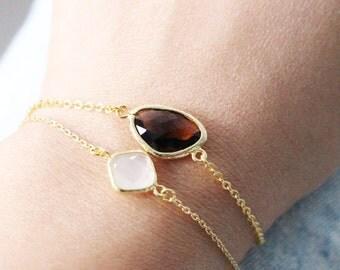 SALE: 30% OFF - Gold framed glass crystal bracelet // Smoked Topaz
