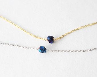 Tiny raw crystal bracelet // blue rock bracelet - Gold or Silver