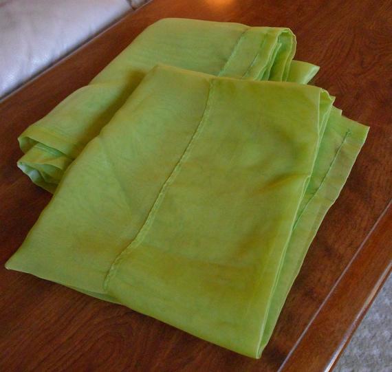 Vintage lime green window sheers curtain panel pair 2 panels for Lime green curtains for bedroom