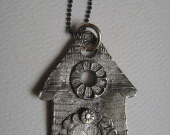 new rustic house pendant, fine silver