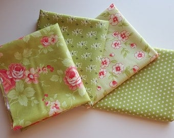 Moda Farmhouse Meadow (light green) Fat Quarter bundle - 4 prints, 1 yard total