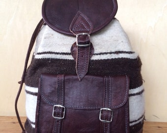 LEATHER and WOOL BACKPACK, 16 INCHEs, leather rucksack, ETHNIc Backpack Leather, rucksack, hipster Bag, Aged leather rucksack, Leather bag