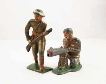 Two Vintage Lead Soldiers - Large WWI Army Soldiers - Militaria - Paint Remnants in Khaki, Orange, Red and Green - Shelf Stuff - Collector