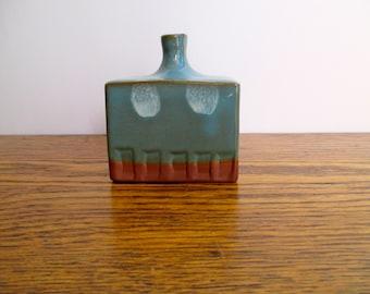 Vintage Takahashi Small Square Blue Vase