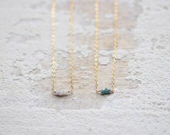 Tiny Raw Diamond Necklace, April Birthstone Jewelry, Gift Under 100