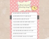 Little Birdie Cottage Chic What Would Daddy Say? Printable Baby Shower Game - INSTANT DOWNLOAD