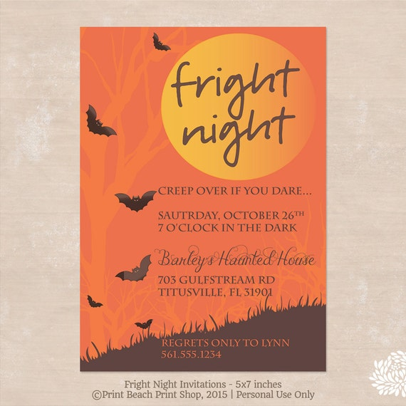 fright night printable halloween costume party invitations