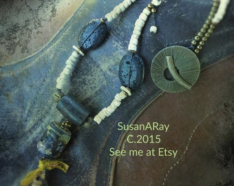 Handmade LAVA Lights Necklace by Susan Ray, Lampwork and Tibetan Prayer Roll