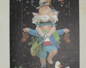 1970s Vintage Christmas Card Umbrella A Shower of Good Wishes by Ferrandiz