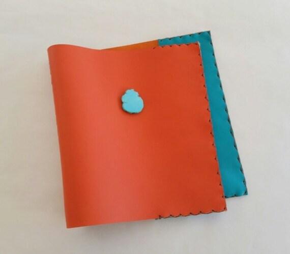 Orange Leather 1 3-Ring Binder Leather Presentation