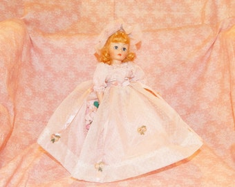 Madame Alexander Portrettes ,1122 Flower Girl 10'' Collectible Doll ,Vintage Doll, Pink Dotted Swiss Dress with Flower AppliqueTrim
