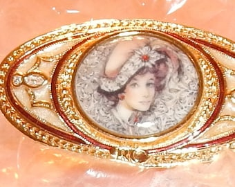 Vintage Lady with Hat Brooch, Oval, Goldtone with Burgandy , Porcelain Cameo, Women, Avon Honor Society