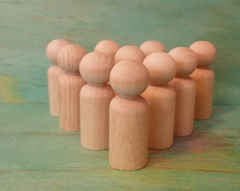 Wooden peg dolls 'boy' size- 4cm lot of 10