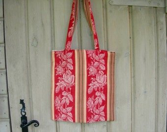 Tote bag Handmade Rosacabane Shabby Chic Red  Antique Ticking Fully Lined Original Design, OOAK, Braided Bag,Roomy Bag,