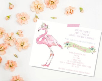 Flamingo Baby Shower Invitation. Baby Shower Invite. Girl Baby Shower Invitation. Baby Shower.