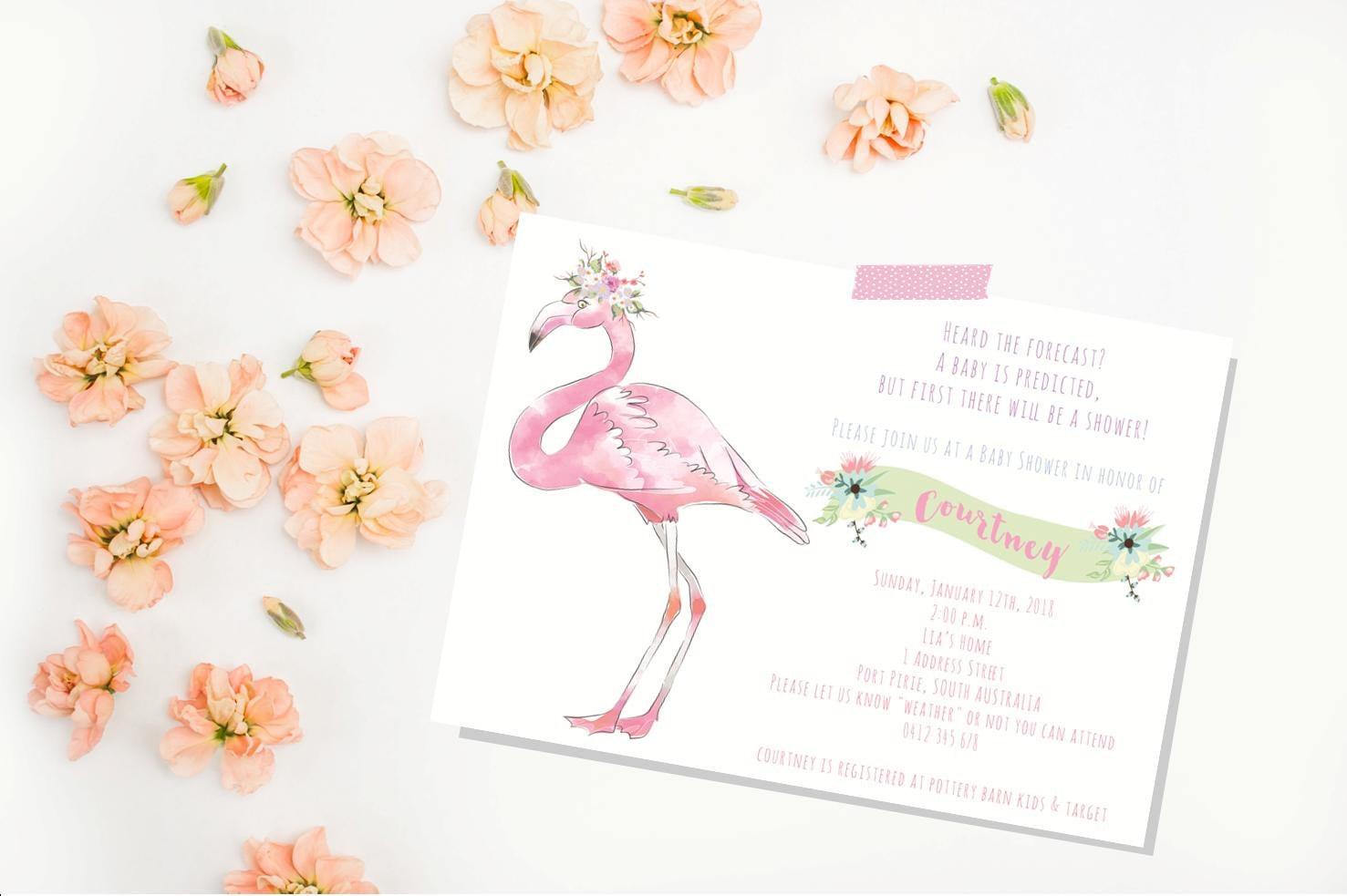 flamingo baby shower invitation baby shower invite girl baby