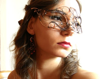 Masquerade Mask I- wire wrapped mask, handmade, copper