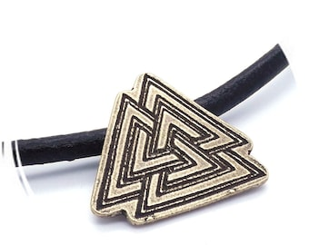 Handcrafted Raw Bronze Pagan Valknut Valknot Norse Pendant on 5mm Leather Thong