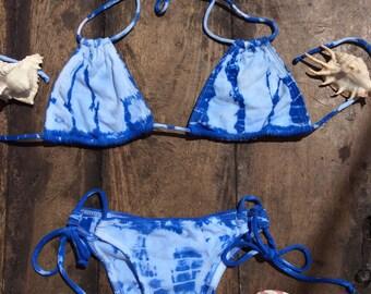 Tye dye blue bikini