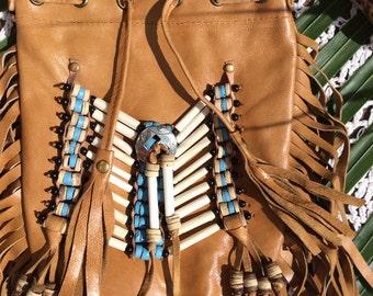Tan fringe navajo bag