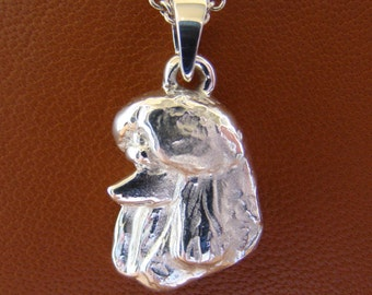 Small Sterling Silver Poodle Head Study Pendant