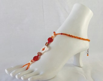 Foot Jewelry, Body Jewelry, Barefoot Sandals, Beaded Anklet - Pumpkin Spice