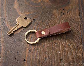 Key fob & keyring, keychain, Horween leather - redbrown/brass